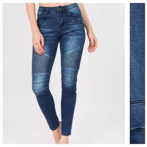 AMERICAN BAZI Low Rise Moto Bike Skinny Jeans